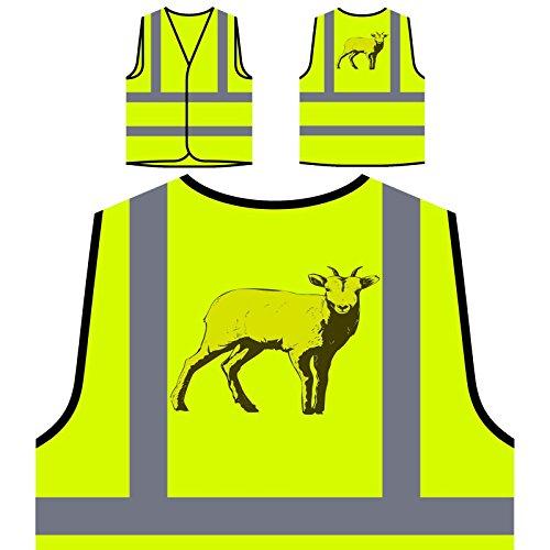 Arte Animal De Cabra Gracioso Chaqueta de seguridad amarillo personalizado de alta visibilidad o565v