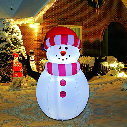GOOSH 5 Foot Christmas Inflatable Snowman Outdoor Decorations with Branch Hand LED Lights Cute Fun Holiday Xmas Blow Up Yard Lawn Decoration Party Display