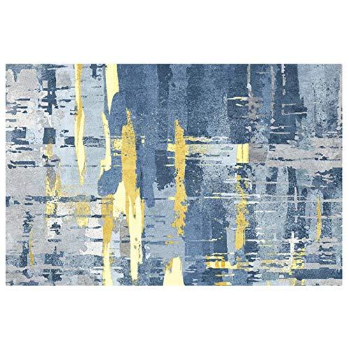 artkingdom Alfombra Alfombrillas decoración de la Sala Alfombra Azul Oscuro con pequeños Puntos Amarillos Tamaño 80 * 160 cm