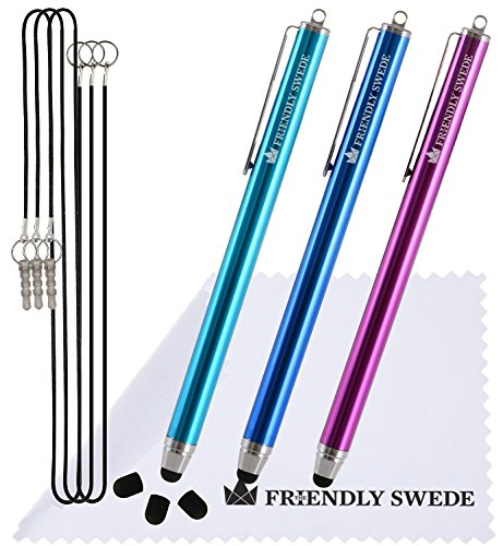 The Friendly Swede Eingabestift Touchstift Stylus Stift (3er-Set) für Tablett und Handy, mit dünnerer Spitze, Ersatzspitzen, Anhängern und Reinigungstuch (Hellblau/Dunkelblau/Lila)