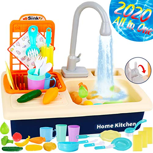 Cheffun Pretend Play Kitchen Sink Toy - Running Water Dishes Washing Toys for Kids Playhouse Accessories Indoor Outdoor Playsetfor Boys Girls Toddler Age 3 4 5 6 7 8 Years Old