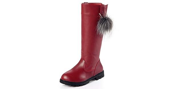 70732 Toddler//Little Kid//Big Kid DADAWEN Girls Waterproof Pom Pom Back Zipper Fur Tall Riding Boots