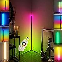 北欧RGBフロアランプリビングルームの装飾カラフルなフロアライトベッドルームベッドサイドコーナースタンドライト屋内スタンディング照明20W、ブラック