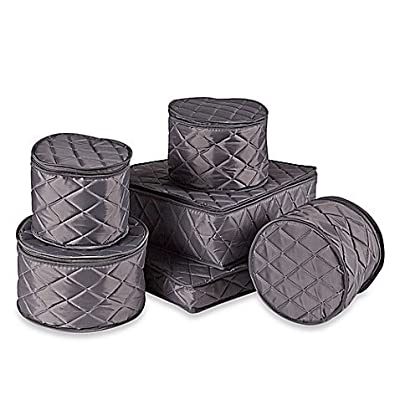 .ORG Quilted 6-Piece China Storage Set, Grey from