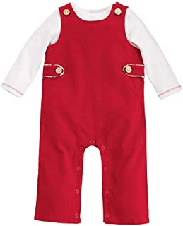 Mud Pie Kids Baby Classic Christmas Red Overall Longall and Shirt Set