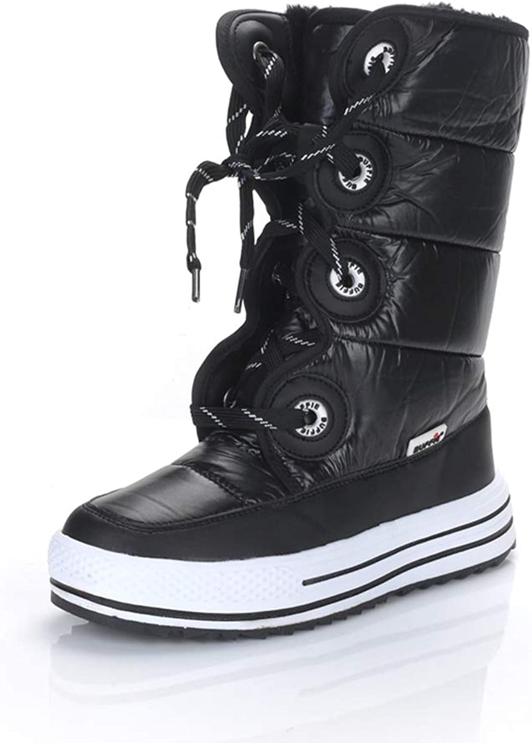 Hoxekle Women Snow Boot Mid Calf Waterproof Thick Platform Cotton Lace Up Black Leather Casual Female Outdoor Hiking Walking shoes