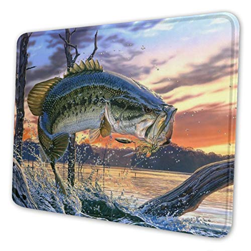 Mouse Pad Fishing Bass Mouth Non-Slip Rubber Base Stitched Edges Gaming Mousepad for Computers Laptop