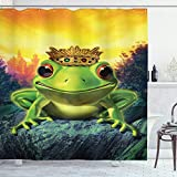 ABAKUHAUS Tier Duschvorhang, Froschkönig mit Krone, Moderner Digitaldruck mit 12 Haken auf Stoff Wasser & Bakterie Resistent, 175 x 240 cm, Grün-gelben