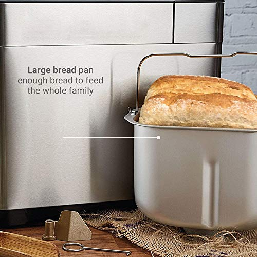 Andrew James Digital Breadmaker with Gluten-Free & Low Carb Settings | Digital Bread Maker with 16 Preset Functions & Automatic Ingredients Dispenser | 13 Hour Delay Timer & 1 Hour Keep Warm Functions