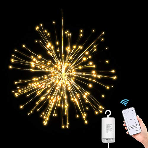 Starburst Lights,Hanging Fireworks Fairy String Lights 150 LED,IP65 Waterproof,Battery Operated,Wireless Remote Control Christmas Bouquet Lights,Outdoor Light for Home Garden Patio Room Wedding Party