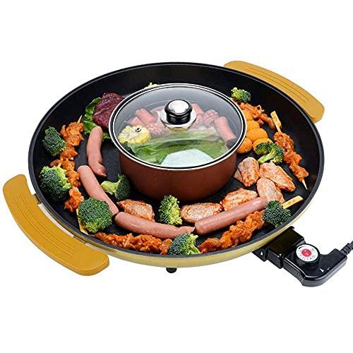 HaoLi Parrilla eléctrica Parrilla de Barbacoa, Parrilla de Fiesta y Mesa de Parrilla para Interior Teppanyaki Duck Práctico Mango Multi Cooker 2000W Parrilla eléctrica con calefacción