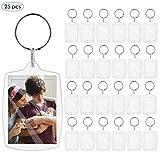 Leyeet 25 Stück Acryl Schlüsselanhänger mit Schlüsselring Leer Bild Transparent Foto Schlüsselanhänger Mini Bilderrahmen Lichtbild Größe 4 x 5.5cm