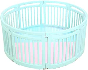 VGG Child Plastic Playpen Round Portable Room Divider Kids Barrier for Indoor and Outdoor with Mat  Color Blue