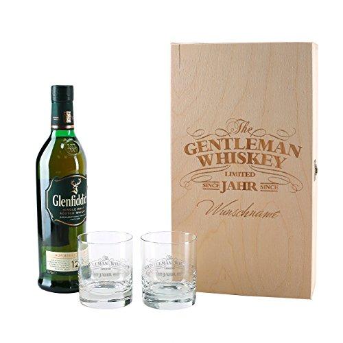 Herz & Heim® Glenfiddich Whisky Geschenkset mit Gratis Gravur 2er Whiskey Gläser in gravierter Holzkiste Gentleman