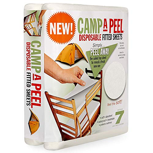 Camp-A-Peel  Waterproof Mattress Cover  Cot Size Fitted Bed Sheet Protector  Soft & Comfortable, 7 Peel Away Layers Protect Against Dust Mites & Allergens  For Motorhome, Camper & Travel Trailer