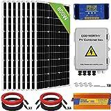 ECO-WORTHY 800W 24V Solar Panel Off Grid System Kit: 8pcs 100W Mono Solar Panel + 1500W 24V-110V Inverter + 60A PWM Charge...