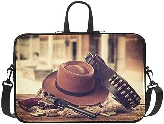Cowboy Hat and Scarf Wild West Pattern Briefcase Laptop Bag Messenger Shoulder Work Bag Crossbody Handbag for Business Travelling
