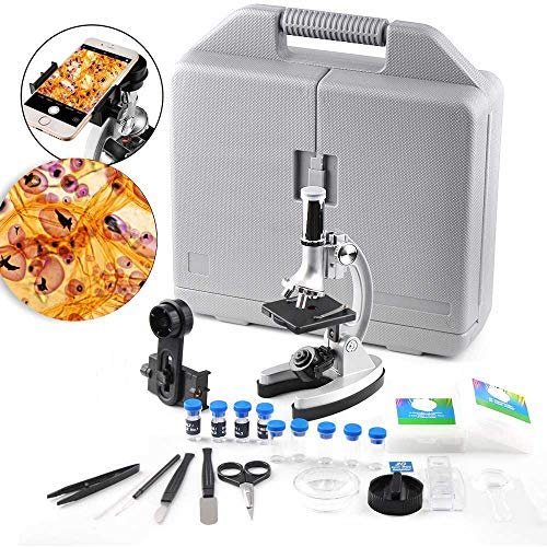 Microscope for Kids and Beginners-300x 600x 1200x Magnification Student Compound Monocular Microscope with Metal Arm and Base -All The Accessories Include in a Handy Storage Case