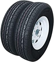 Set of 2 Trailer Tires & Rims ST175/80R13 175 80 13 Inch Trailer Tire 5-Lug White Spoke Wheel