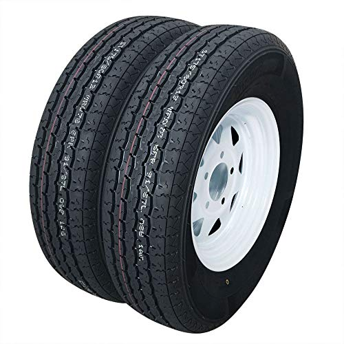 Set of 2 Trailer Tires & Rims ST175/80R13 175 80 13 Inch Trailer Tire 5-Lug White Spoke Wheel