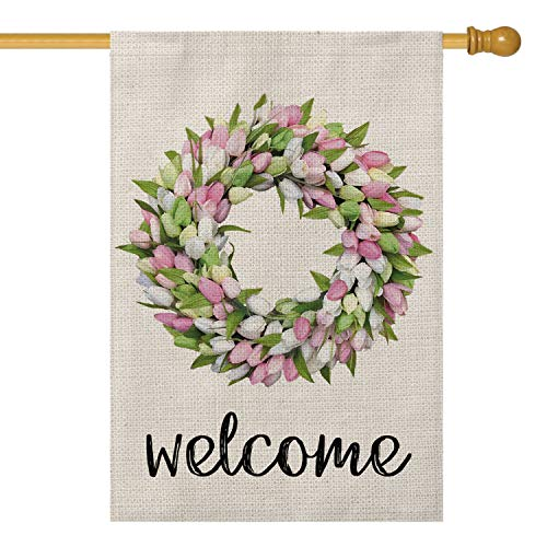 AVOIN Welcome Tulips and Lily Wreath House Flag Vertical Double Sized, Seasonal Spring Easter Mother's Day Yard Outdoor Decoration 28 x 40 Inch