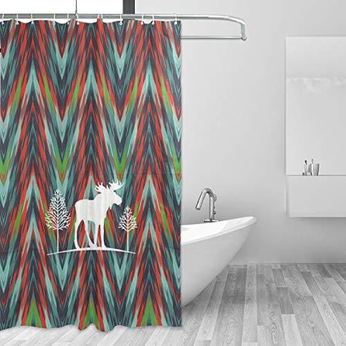 FAJRO Duschvorhang Elch Kunst Malerei Polyester Duschvorhang Maschinenwäsche Badezimmer Duschvorhänge antibakteriell für Dusche Stall, Badewannen 152,4 x 182,9 cm