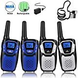 Walkie Talkies for Adult, Easy to Use Rechargeable Long Range Walky Talky Handheld Two Way Radio with NOAA for Hiking Camping (2Blue & 2Silver with NOAA/USB Charger/USB Cable/Battery/Lanyard)