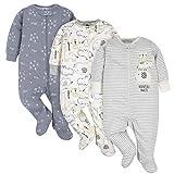 Gerber Baby Boys' 3-Pack Organic Sleep 'N Play, Wild Guy Grey, 3-6 Months