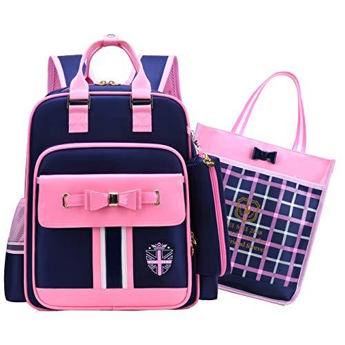 Backpack for Girls, Gazigo Waterproof Bookbag School Bag Primary Elementary Kids (180° Open Navy With Handbag, Large)