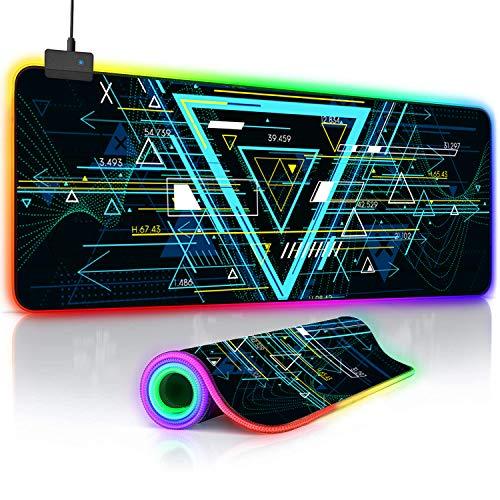 O'woda Tappetino Mouse Gaming RGB, Grande Taglia[ 800x300 mm ], Geometria, 14 RGB Effetti, Impermeabile,Base in Gomma Antiscivolo e Superficie Liscio, Mouse Pad per Computer, PC e Laptop