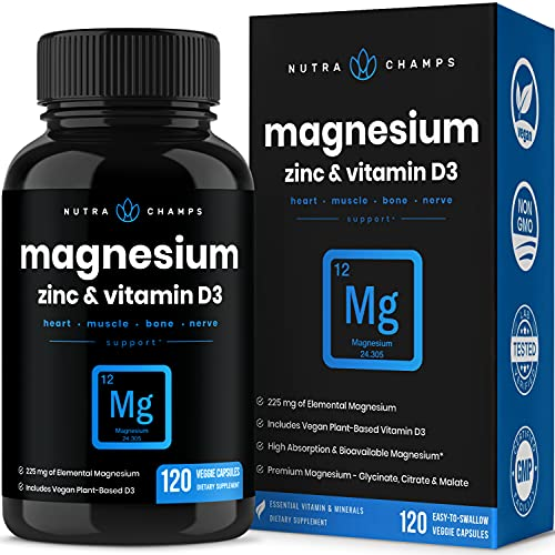 Magnesium Zinc & Vitamin D3 Supplement - Most Bioavailable Forms; Magnesium Glycinate, Malate, Citrate - Bone, Muscle & Heart Health, Immune Support - 120 Vegan Capsules
