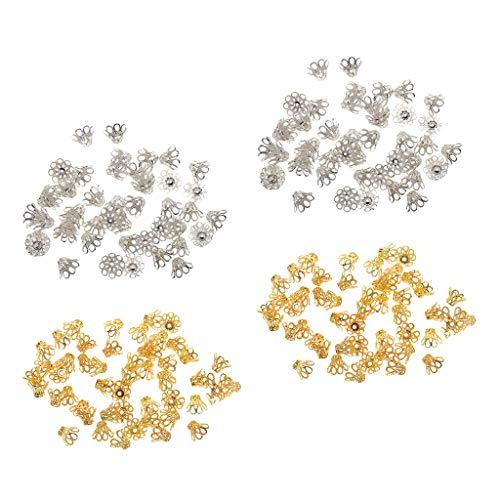 yotijar 200pcs Huecos Espaciadores de Cuentas de Tapas de Extremo de Flor para Collar de Pulsera