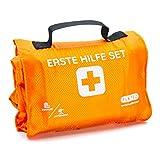 Set de primeros auxilios Outdoor Explorer, para senderismo, esquí, escalada, práctico formato de rollo, cabe en cualquier mochila, impermeable (59 piezas, color naranja)