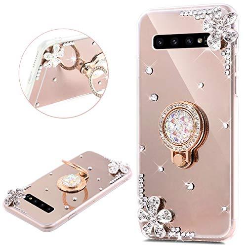JAWSEU Compatible avec Samsung Galaxy S10 Coque Silicone Glitter Strass Diamant Miroir Bague de Support,Luxe Mode Cristal Clair Fleur Miroir Etui SoupleTPU Gel Téléphone Coque Bumper Case,Or