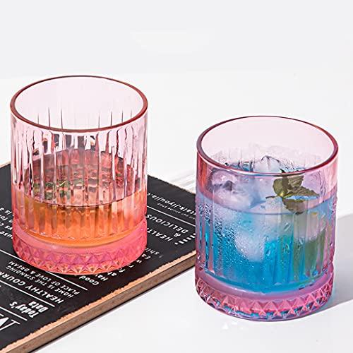 Cristalería Vaso Sin Plomo Copa De Vino Vaso De Whisky Grabado Rosa Vaso De Cerveza Creativo En Casa Conjunto De Copas De Vino De Cristal De 6 Piezas (Color : Pink, Size : 355ml*2)