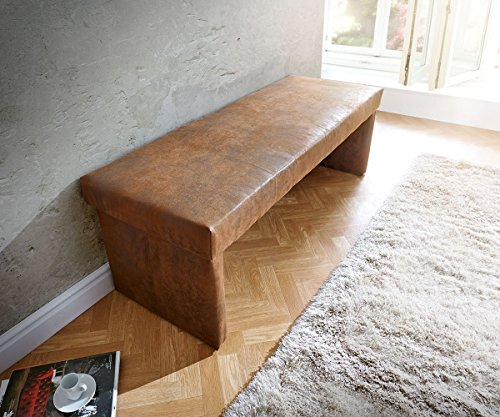 DELIFE Polsterbank Olav Braun 140x53 cm Antik Optik gepolstert Sitzbank