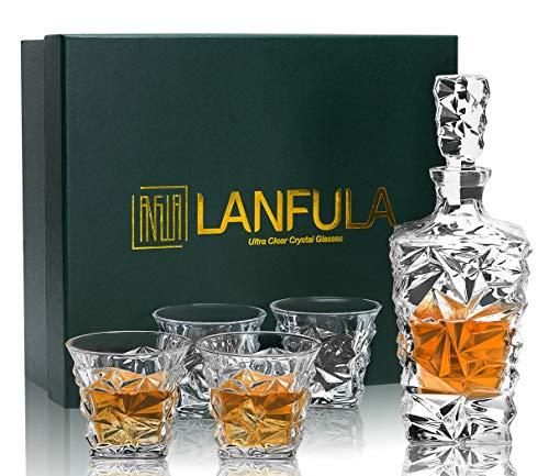 LANFULA Bottiglia e Bicchieri da Whisky Cristallo, 800 ml Decanter con 4 Bicchieri Whiskey 270 ml, Bella Confezione Regalo, Set di 5 Pezzi