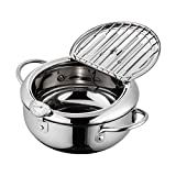Stainless Steel Deep Frying Pan With Lid & Removable Oil Filter Rack, Temperature Control Tempura Deep Fryer Pot For Fried Chicken Legs, Dried Fish, French Fries, Chicken Chops