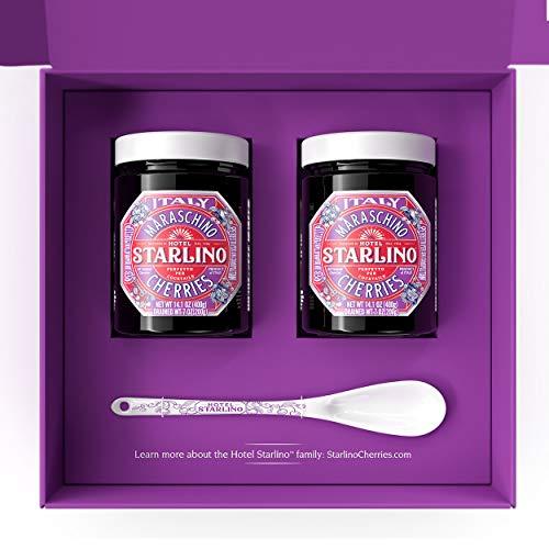 Starlino Maraschino Cherries 2 x 400g Geschenkbox mit original Starlino Maraschino Kirschen Servieröffel | Alkoholfrei italienische Kirschen im Glas zum verschenken oder selber geniessen