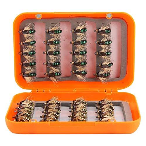 Juego de Moscas secas para Pesca con Mosca Caja de Accesorios de Aparejos de Pesca Duradera Caja de anzuelos de señuelos de Pesca con Mosca(Golden Green Mixed)