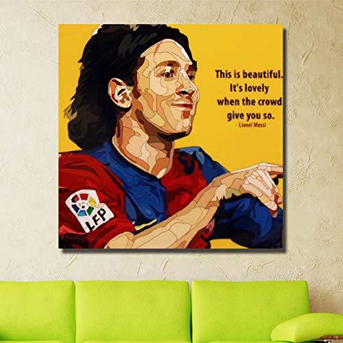 UIOLK Estilo nórdico Messi Estrella de fútbol Pintura Mural Artista decoración del hogar decoración de la Pared Lienzo Moderno Pintura de Pared Moda Cartel Popular