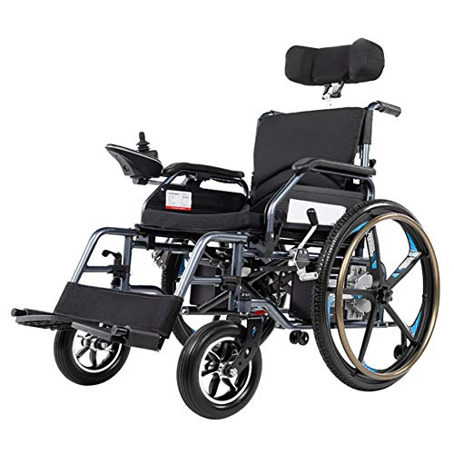 BR Electric Wheelchair, with Headrest, Foldable and Lightweight Powered Wheelchair, Equipped with Smart Remote Control with Manual Mode and Electric Mode