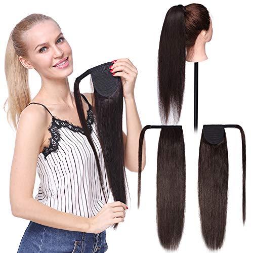Extension Cheveux Queue de Cheval Extension Naturel Rajout Vrai Cheveux Humain Lisse - Ponytail Hair Extensions Attaché par Bande Agrippantes Adhésives - #02 CHATAIN FONCE - 22\