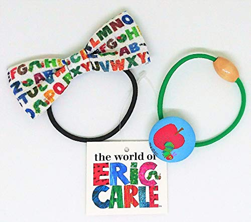 【エリックカール】ヘアゴム(リボン、くるみボタン)2種セット『アルファベット柄とリンゴあおむし柄』