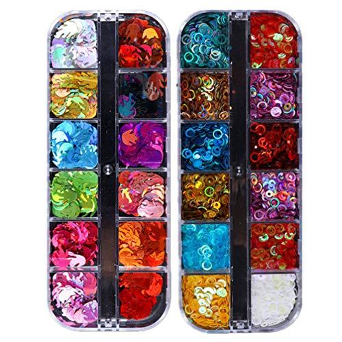 Pixnor 2 Boîte de Paillettes à Ongles Holographique Flamme Et Cercle Paillettes à Ongles Chunky Nail Glitter Autocollant pour Nail Art