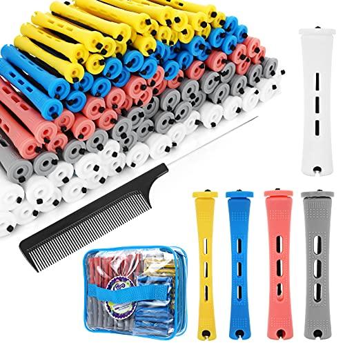 SPTHTHHPY 100 Stück 5 Größen Lockenwickler Curler,Haar Roller Locken Curler für Damen Männer und Kinder,Haar-Styling-Tools für Langes Mittellanges Haar (5 Farben)