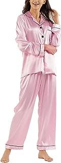 Ladieshow Silk Pajamas for Women,Long Sleeve Satin Pj Set Sleepwear Ladies Soft Button Down Nightwear Loungewear S~XL