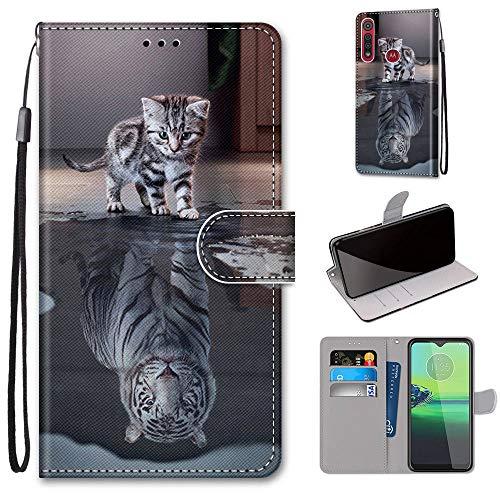 Ougger Hülle für Motorola Moto G8 Play (One Macro) Handyhüllen Flip Hülle Cover Stylish mit Standfunktion & Magnetisch PU Tasche Schutzhülle passt für Moto G8 Play (One Macro), Katze zu Tiger