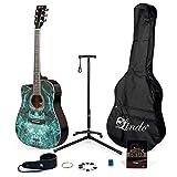 Lindo Fractal Guitarra acústica para zurdos y paquete completo de accesorios...