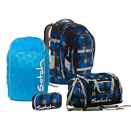 Satch Schulrucksack-Set 4-tlg Pack Airtwist 911 karo blau-grau